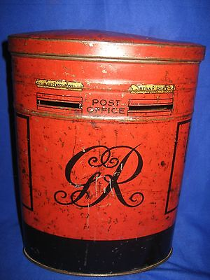 Rare Antique  Red Post Office Postbox Letterbox / Moneybox Tin