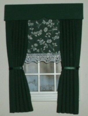 Dolls House Curtains Dark Green With Laura Ashley Blind