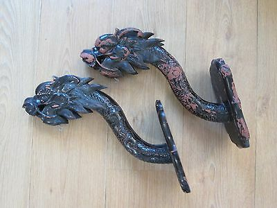 x 2 vintage Chinese dragons, wooden carved wall brackets for lights or lanterns