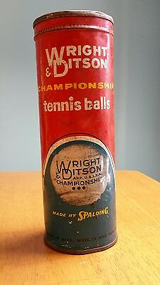 Vintage Wright & Ditson Championship Tennis Balls  Can Sealed Key Open