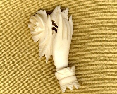 Lovely Antique Victorian Carved Bone Hand Flower Rose Love Mourning Brooch Pin