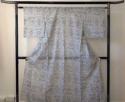 Authentic Japanese see through grey summer kimono, poor condition (I1006)