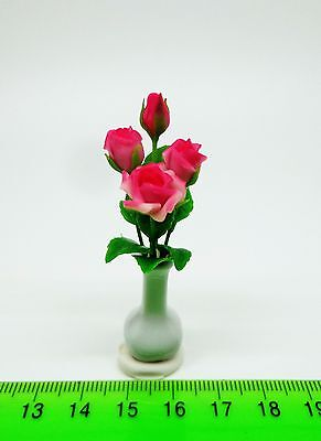 1:12 Scale Roses  In A Vase  A Doll House Miniatures Flowers