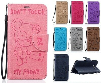 Fashion Cute Bear Patterned Wallet Flip PU Leather Case Silicone Cover For Phone