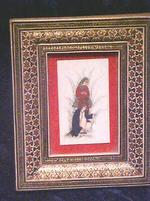 Persian Marquetry Khatam Frame Sitting Man & Ladiy Hand Painted on Camel Bone