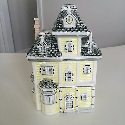 """Beautiful Victorian Home House Cookie Jar Canister Ceramic Yellow Gray ~10"""""""