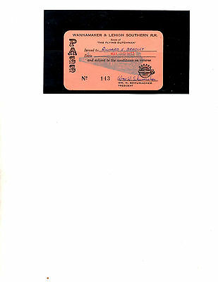 Wannamaker & Lehigh Southern R.r.  Pass (Item 0168)