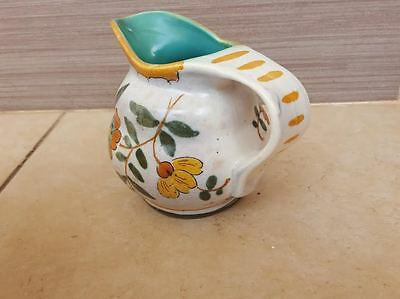 Vintage Gouda Pottery Pitcher  Nice Royal Zuid Holland nacar flower