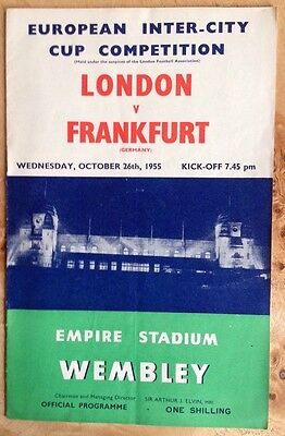Inter City Fairs Cup 1st Rnd London v Frankfurt 26/10/1955 At Wembley