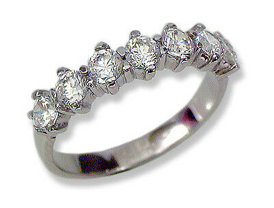 Woman's Anniversary Band Ring 10k White Gold Round CZ's