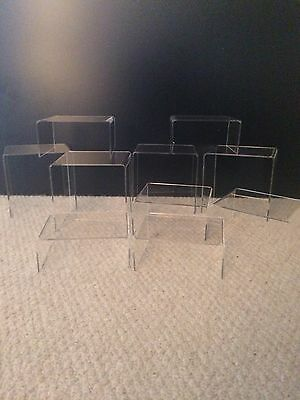 *10 Mixed Size** Pack Clear Acrylic,perspex Stands,risers,display Stands,plinths