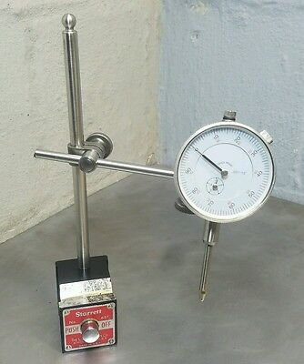 "Starrett No. 657AA magnetic base with a 1"" dial indicator"