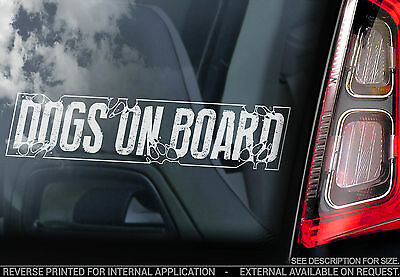 Dogs on Board - Car Window Sticker - Dog Sign Art Gift - TYP1