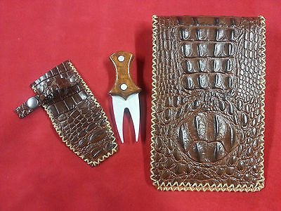 Brown Gator Back Leather Scorecard and Yardage Book Holder/Divot Tool Combo