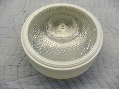 vintage 10.375 round white frosted clear diamond cut glass light shade 9 7/8 fit