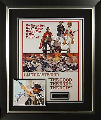 The Good The Bad The Ugly Cast Signed Movie Poster Framed Display Clint Eastwood