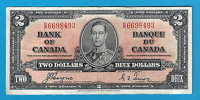 1937  2$ Bank Note Of Canada  Coyne/Towers  K/R6698493  Circ. BC-22c