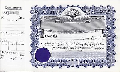 Lovely blank stock certificate - blue with seal, torch, sunrise