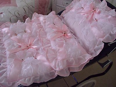Dolls pink coach built pram set with frothy lace and roses