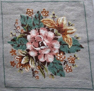 Completed Floral Needlepoint Tapestry 'FLEUR DE LIS' K6003 Anchor Wool 42x42cm