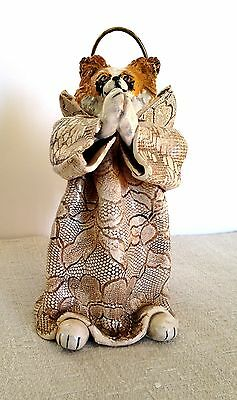 Papillon - Handbuilt - One of a Kind Pottery Angel Figure - 1992