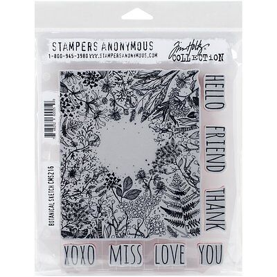 Stampers Anonymous Tim Holtz Cling Mounted Stamp Set Botanical Sketch CMS216 R