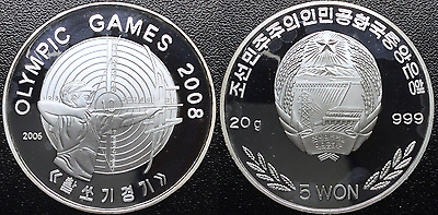 5 Won Korea 2006 Olympic Games 2008 Proof 999 Silver