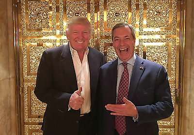 """Nigel Farage And Donald Trump ~ A4 New Glossy Photo Poster Print 11.75"""" X 8.25"""""""