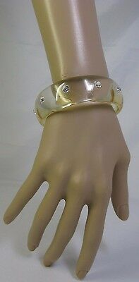 Vintage Clear Wide Lucite Bangle Bracelet With Rhinestone Stud Accents