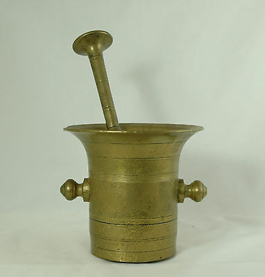 Antique Brass Heavy Duty Mortar and Pestle Apothecary Civil War Era '7' LARGE