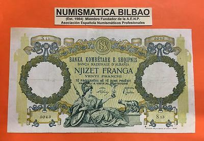 ALBANIA 20 FRANGA 1939 1945 Pick 7 ITALY OCCUPATION WWII @SEE SCAN@ BANKNOTE