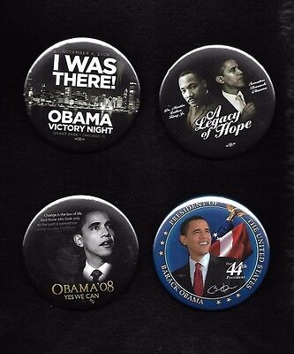 4 different BARACK OBAMA photo buttons from 2008:MLK jugate, 44.I Was There,