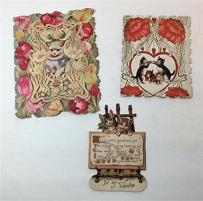 SUPER Valentine Card LOT of 3 - Kitty Cats - ca 1890 - 1920s -Nister, Victorian