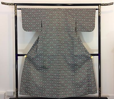 Authentic Japanese grey wool kimono for women, imported from Japan (K1012)