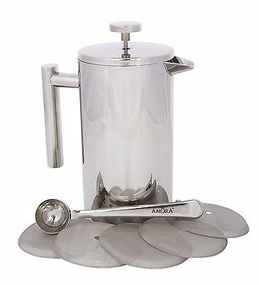 French Press Coffee Maker Amora 8 Cup Stainless Steel Coffee Spoon 5 Mesh Filter