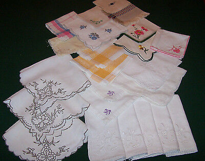 23 VINTAGE ASSORTED LINEN NAPKINS, CUTWORK, EMBROIDERY, MOSAIC WORK, c1930