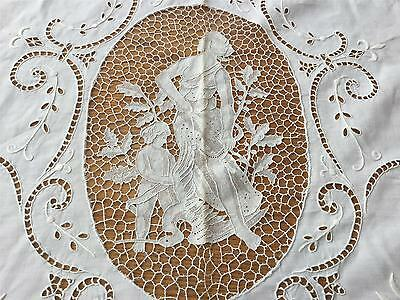 "LUXURIOUS  Point de Venise FIGURAL Hand Embroidered Tablecloth 82x132""  TB50"