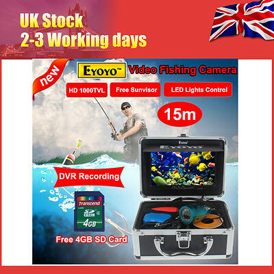 "7"" Monitor 15M Underwater Fish Camera Video DVR Fish Discover+4GB Card"