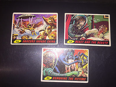ORIGINAL 1962 TOPPS BUBBLES MARS ATTACKS TRADING CARD #15-17-33 the real deal!!