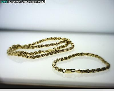 Vermeil over Sterling Silver Rope Chain & Matching Rope Bracelet Set (B3295)