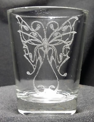 Butterfly etched shot glass. Can be personalized. Different designs available!!