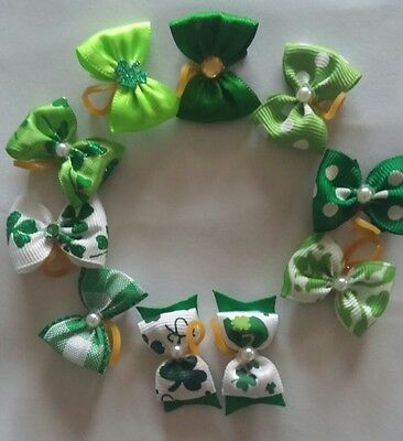 "40 pcs St Patrick  Rubber band hair bows dog cat grooming handmade 1"" inch"
