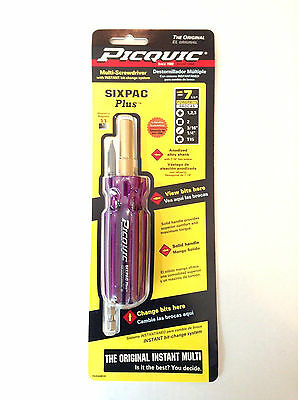"PICQUIC SIXPAC Plus Screwdriver Multi Bit w/ 7 Hex Bits - ""Blackberry"""