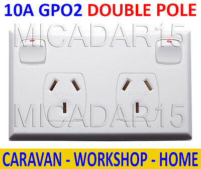 10 Amp Double Pole, Double Power Point GPO2 - 10A Powerpoint Outlet for Caravan