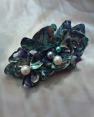 Vintage Barrette Hair Clip Faux Seashell and Pearls Made In France
