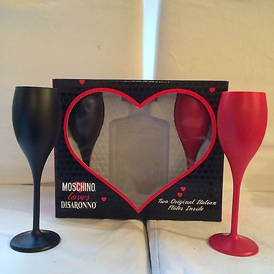 Disaronno Wears Moschino Rare Gift Box With Two Flutes Bar Pub Home Party Gift