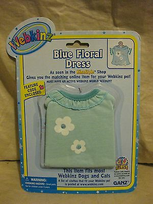 WEBKINZ Blue Floral Dress CLOTHING With Sealed Feature Code