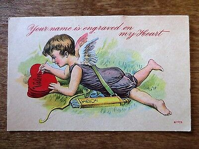 Early 1900s Your Name Engraved My Heart Cupid Valentine's Day Postcard Used