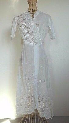 Vintage Antique White Scalloped Asymetrical Edwardian Dress with Lace Trim