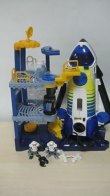 Fisher Price Imaginext Space Shuttle, Launch Station, Figures Great WORKS COND